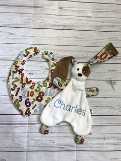 Puppy Snuggly and bib set