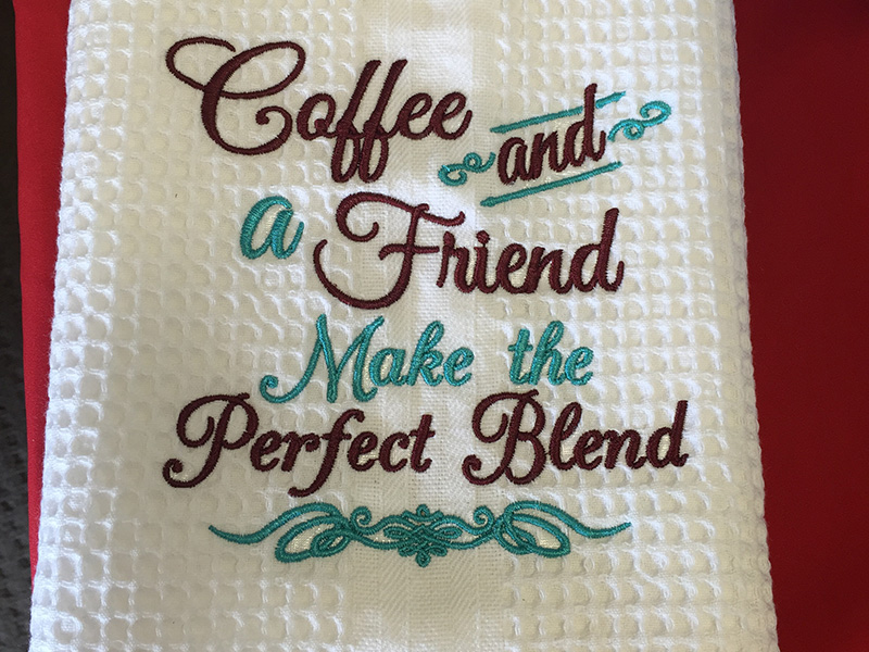 Embroidered Tea Towel - Coffee and Friends
